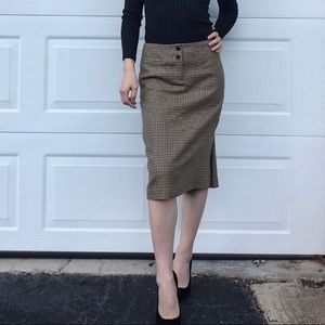 J.Crew Plaid Wool Midi Skirt with Back Pleat Sz 0